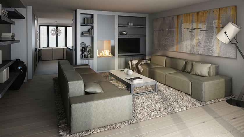 3D interieur impressie | Choro 3D visualisatie bureau Choro