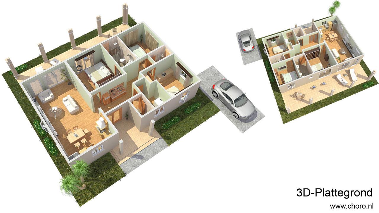 Choro 3d visualisatie bureau top kwaliteit artist for Plattegrond huis tekenen