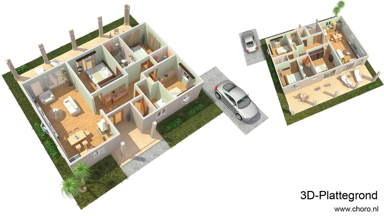 Choro 3d visualisatie bureau top kwaliteit artist for 2d plattegrond maken