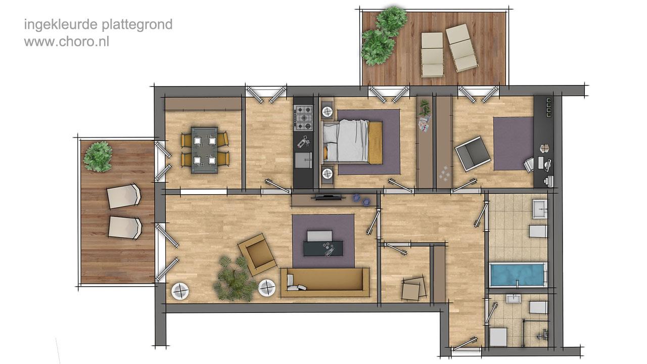 Mooie ingekleurde plattegronden van woningen voor de for Plattegrond woning