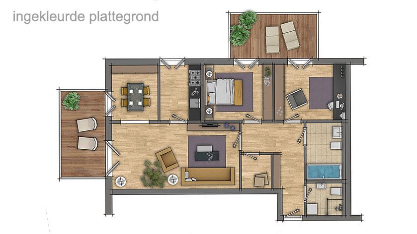 mooie ingekleurde plattegronden van woningen voor de verkoopbrochure