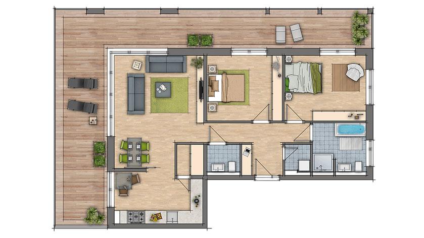 Mooie ingekleurde plattegronden van woningen voor de for 2d plattegrond maken
